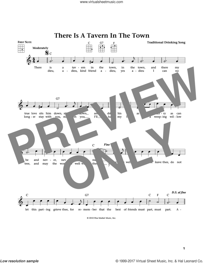 There Is A Tavern In The Town (from The Daily Ukulele) (arr. Liz and Jim Beloff) sheet music for ukulele , Jim Beloff and Liz Beloff, intermediate skill level