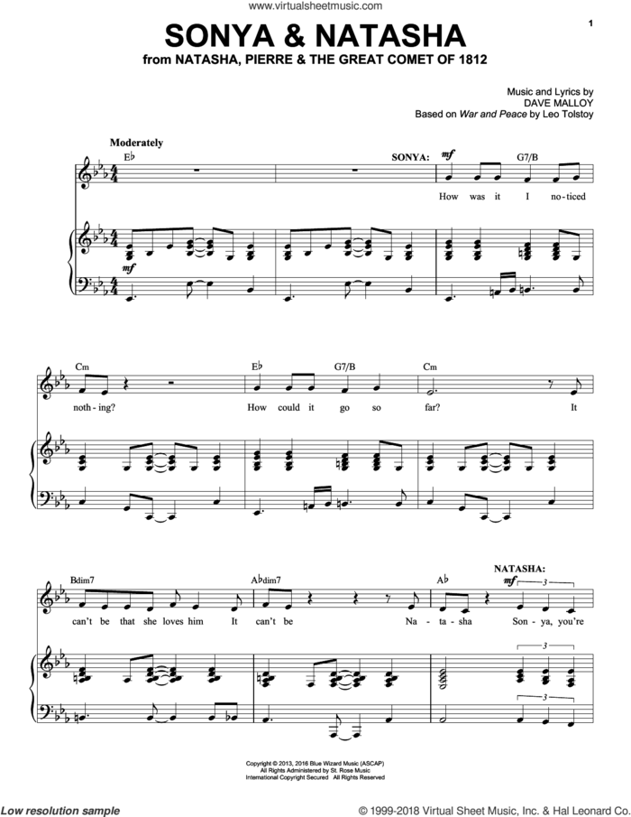 Sonya and Natasha sheet music for voice and piano by Josh Groban and Dave Malloy, intermediate skill level
