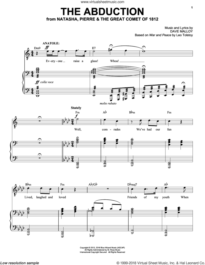 The Abduction sheet music for voice and piano by Josh Groban and Dave Malloy, intermediate skill level