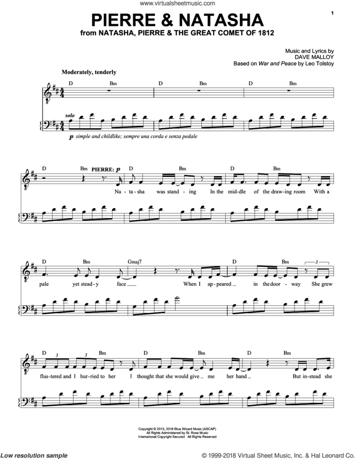 Pierre and Natasha sheet music for voice and piano by Josh Groban and Dave Malloy, intermediate skill level