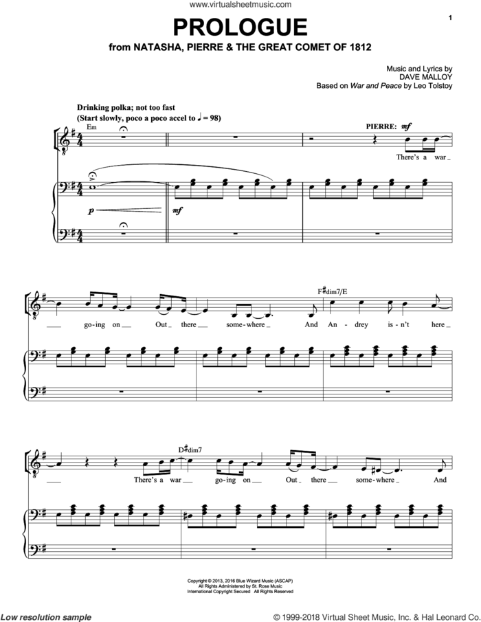 Prologue sheet music for voice and piano by Josh Groban and Dave Malloy, intermediate skill level