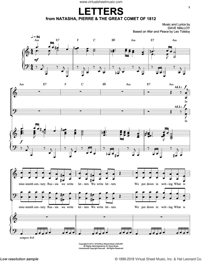 Letters sheet music for voice and piano by Josh Groban and Dave Malloy, intermediate skill level