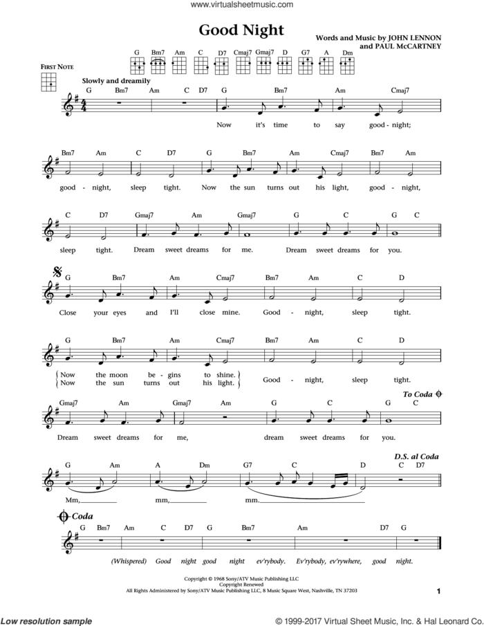 Good Night (from The Daily Ukulele) (arr. Liz and Jim Beloff) sheet music for ukulele by The Beatles, Jim Beloff, Liz Beloff, John Lennon and Paul McCartney, intermediate skill level
