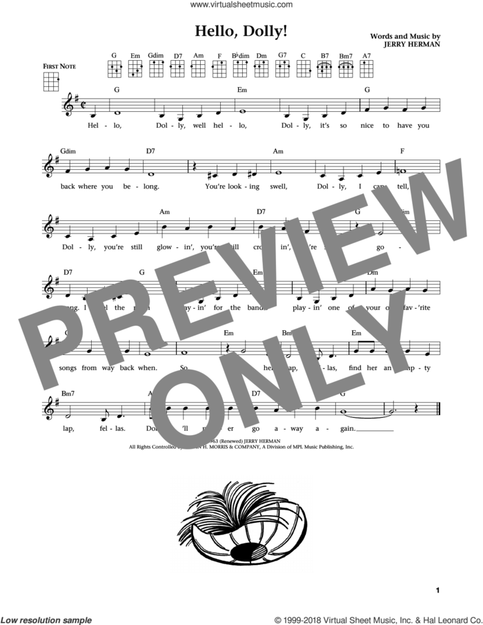 Hello, Dolly! (from The Daily Ukulele) (arr. Liz and Jim Beloff) sheet music for ukulele by Louis Armstrong, Jim Beloff, Liz Beloff and Jerry Herman, intermediate skill level