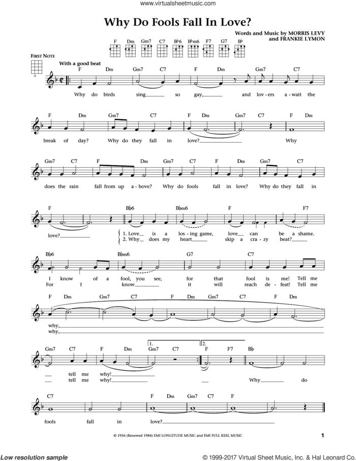 Why Do Fools Fall In Love (from The Daily Ukulele) (arr. Liz and Jim Beloff) sheet music for ukulele by Frankie Lymon & The Teenagers, Jim Beloff, Liz Beloff, Frankie Lymon and Morris Levy, intermediate skill level
