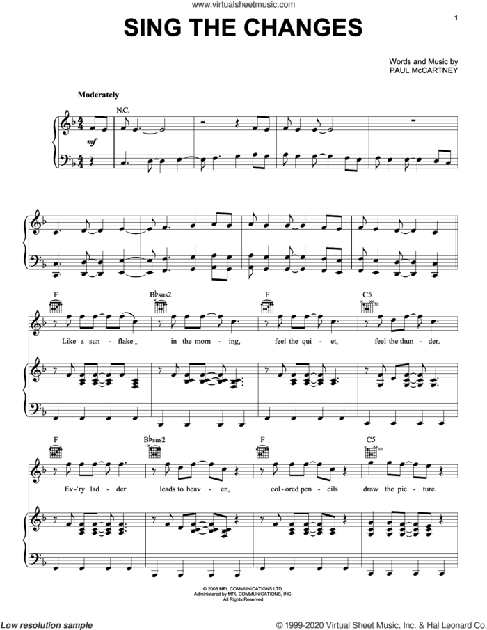 Sing The Changes sheet music for voice, piano or guitar by Paul McCartney, intermediate skill level