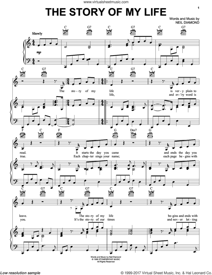 The Story Of My Life sheet music for voice, piano or guitar by Neil Diamond, intermediate skill level