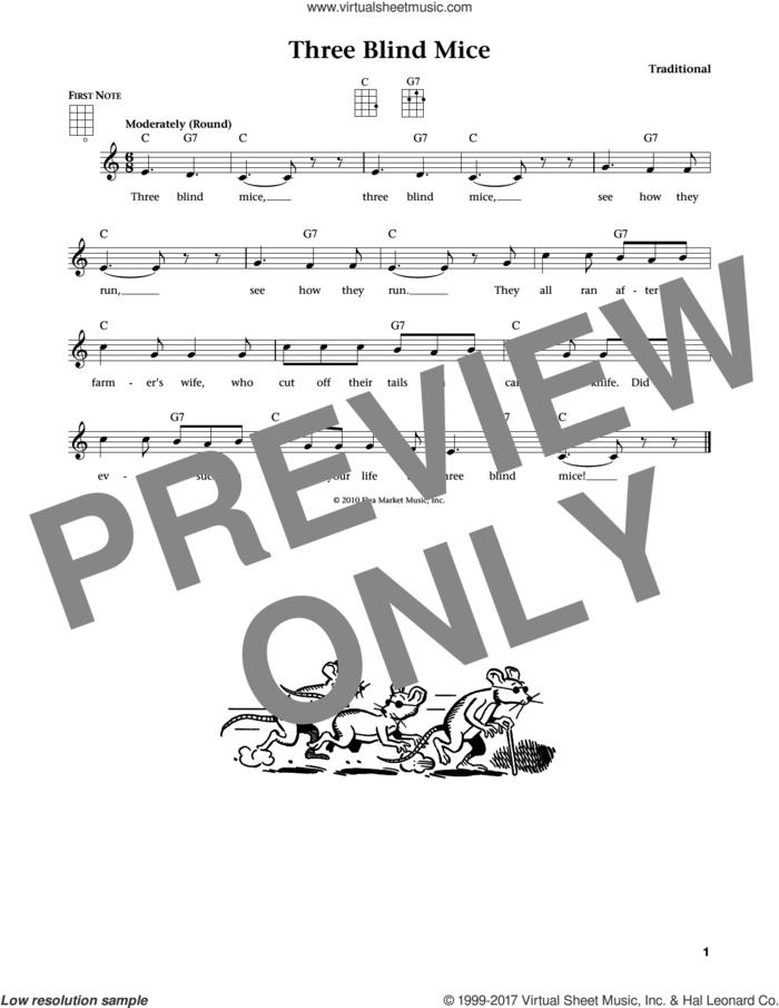 Three Blind Mice (from The Daily Ukulele) (arr. Liz and Jim Beloff) sheet music for ukulele , Jim Beloff and Liz Beloff, intermediate skill level