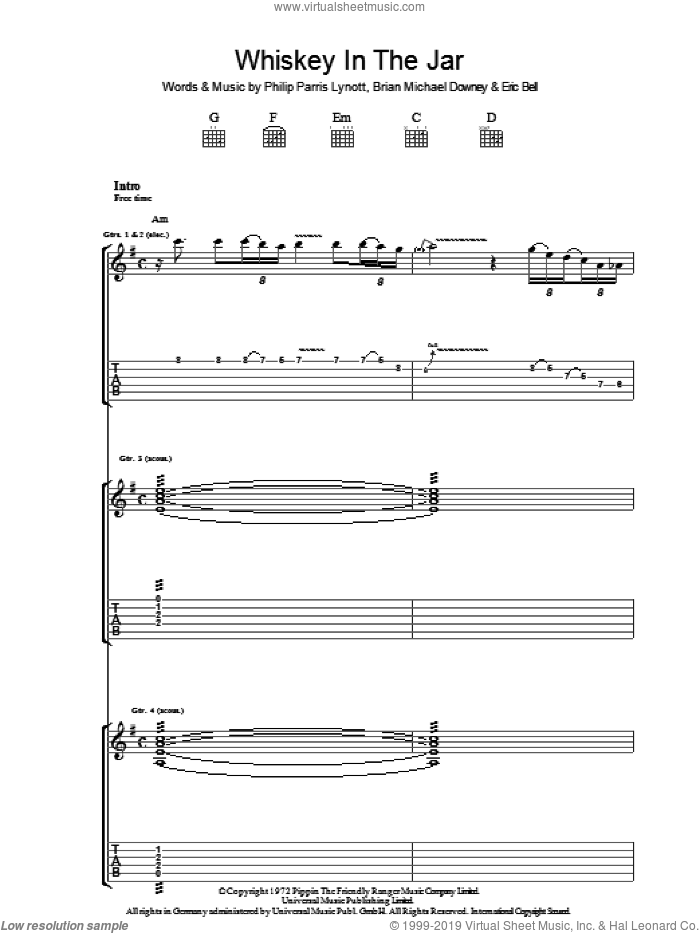 Whiskey In The Jar sheet music for guitar (tablature) by Thin Lizzy, Eric Clapton and Miscellaneous, intermediate skill level