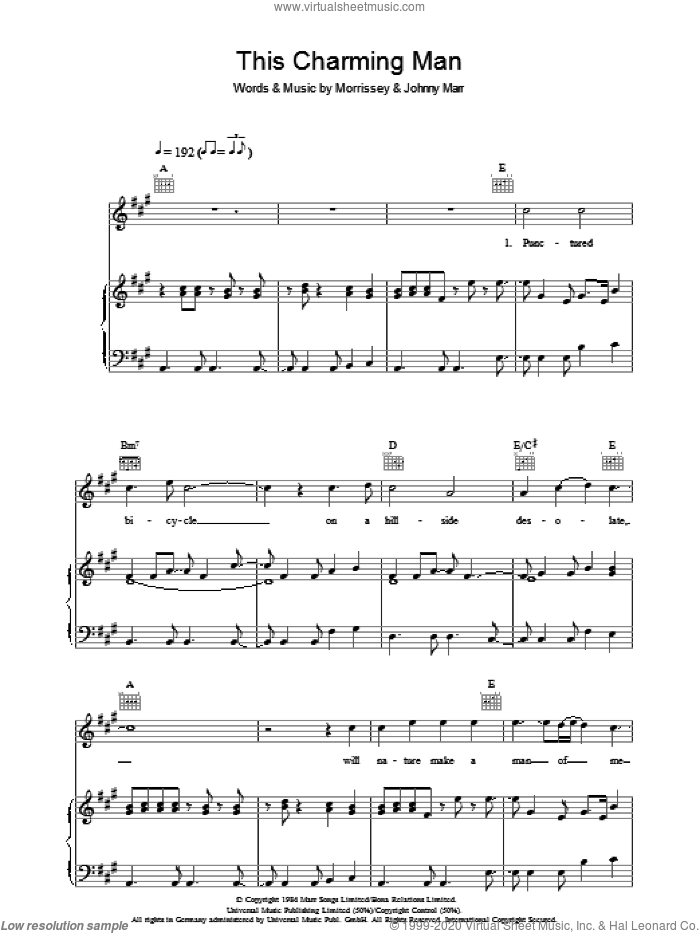 This Charming Man sheet music for voice, piano or guitar by The Smiths, Johnny Marr and Steven Morrissey, intermediate skill level