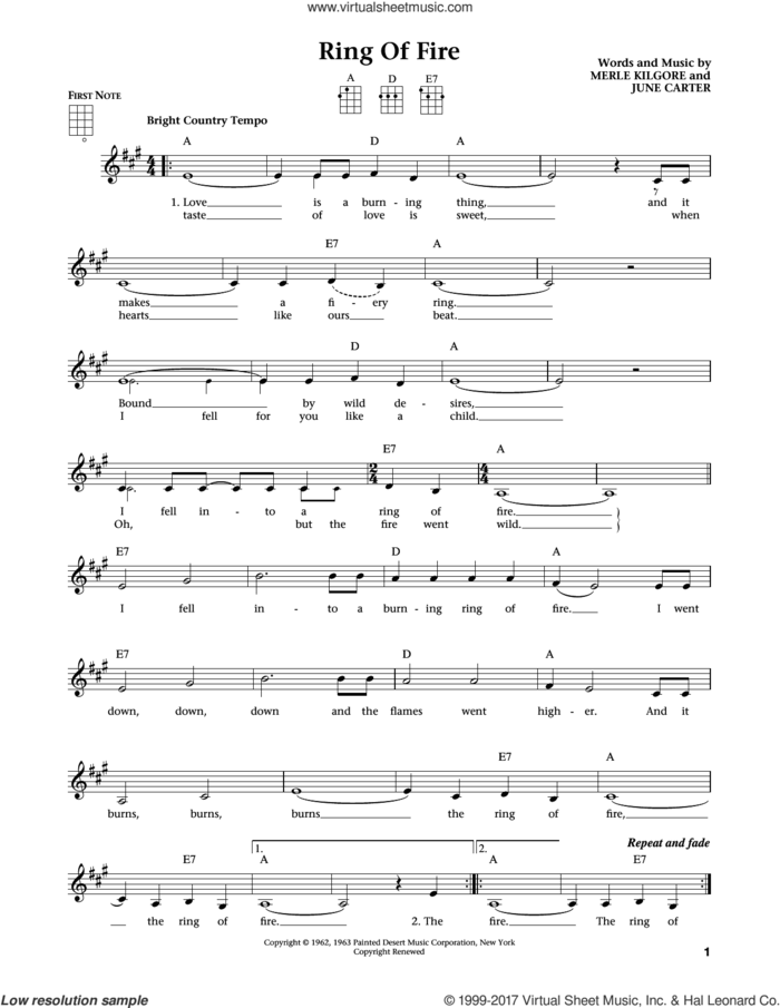 Ring Of Fire (from The Daily Ukulele) (arr. Liz and Jim Beloff) sheet music for ukulele by Johnny Cash, Jim Beloff, Liz Beloff, June Carter and Merle Kilgore, intermediate skill level