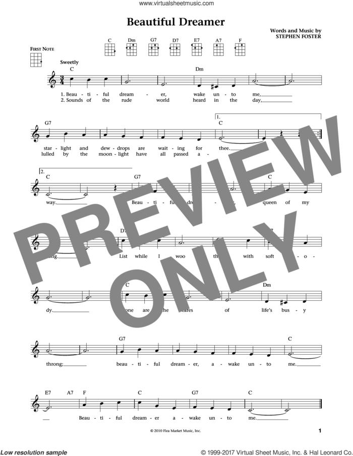 Beautiful Dreamer (from The Daily Ukulele) (arr. Liz and Jim Beloff) sheet music for ukulele by Stephen Foster, Jim Beloff and Liz Beloff, intermediate skill level