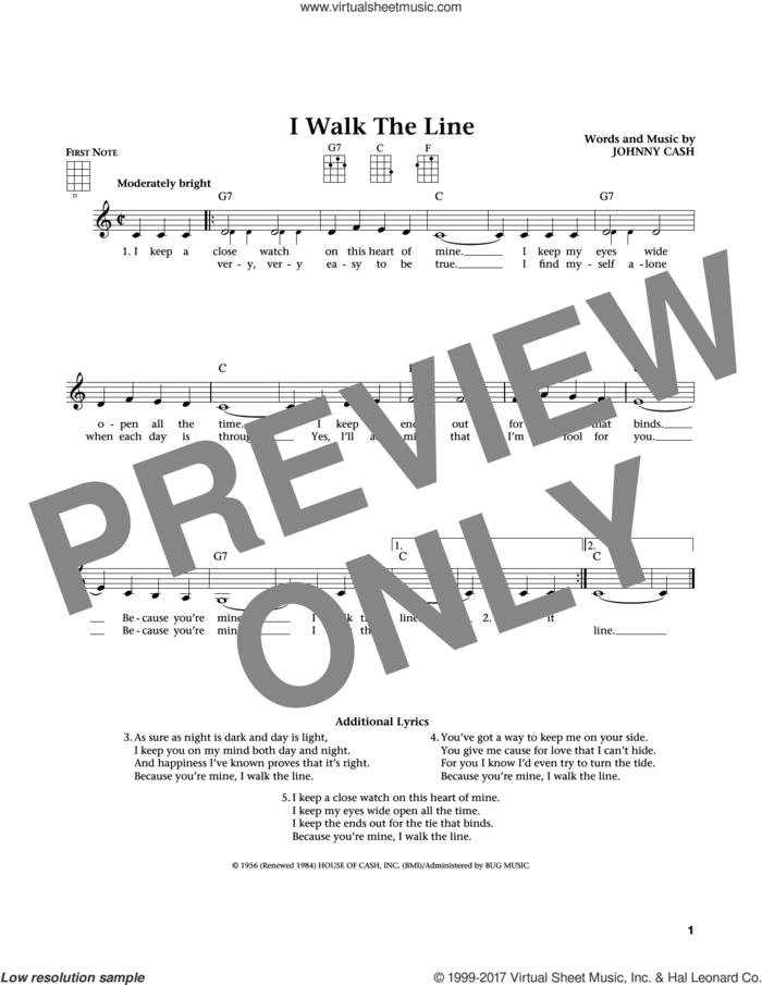 I Walk The Line (from The Daily Ukulele) (arr. Liz and Jim Beloff) sheet music for ukulele by Johnny Cash, Jim Beloff and Liz Beloff, intermediate skill level