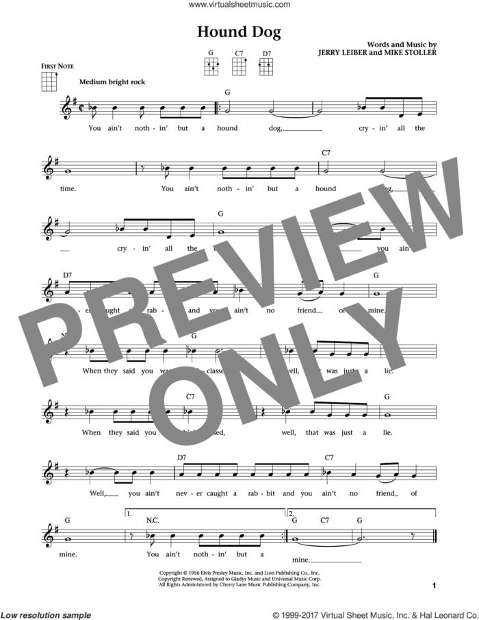 Hound Dog (from The Daily Ukulele) (arr. Liz and Jim Beloff) sheet music for ukulele by Elvis Presley, Jim Beloff, Liz Beloff, Jerry Leiber and Mike Stoller, intermediate skill level