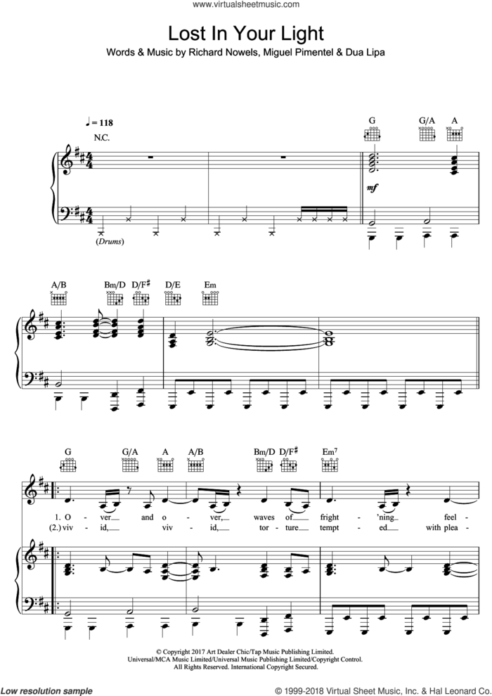 Lost In Your Light (featuring Miguel) sheet music for voice, piano or guitar by Dua Lipa, Miguel, Miguel Pimentel and Rick Nowels, intermediate skill level