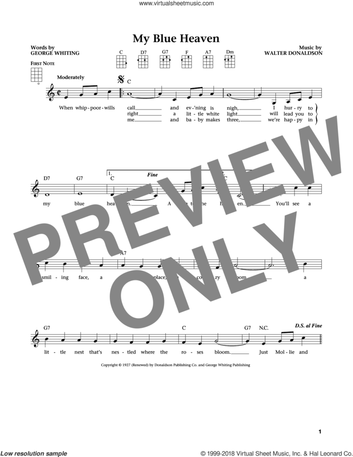 My Blue Heaven (from The Daily Ukulele) (arr. Liz and Jim Beloff) sheet music for ukulele by Walter Donaldson, Jim Beloff, Liz Beloff and George Whiting, intermediate skill level