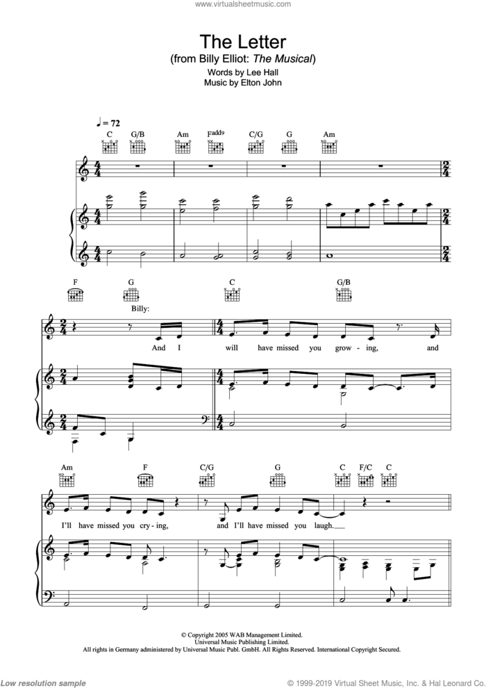 The Letter sheet music for voice, piano or guitar by Elton John, Billy Elliot (Musical) and Lee Hall, intermediate skill level