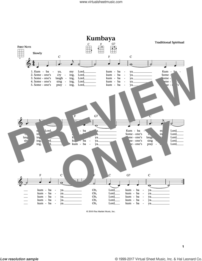 Kum Ba Yah (from The Daily Ukulele) (arr. Liz and Jim Beloff) sheet music for ukulele , Jim Beloff and Liz Beloff, intermediate skill level