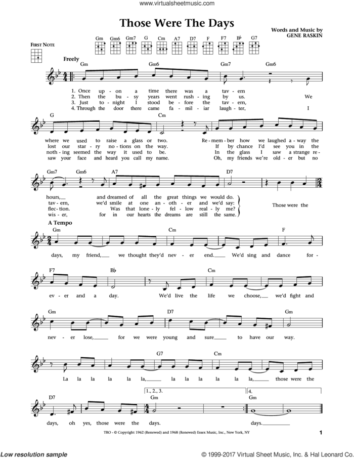 Those Were The Days (from The Daily Ukulele) (arr. Liz and Jim Beloff) sheet music for ukulele by Mary Hopkins, Jim Beloff, Liz Beloff and Gene Raskin, intermediate skill level