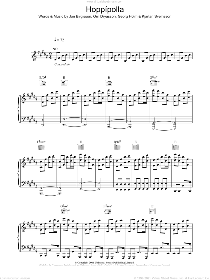 Hoppipolla sheet music for voice, piano or guitar by Sigur Ros, Georg Holm, Jon Birgisson, Kjartan Sveinsson and Orri Dryasson, intermediate skill level