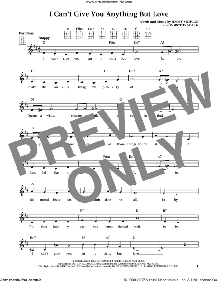 I Can't Give You Anything But Love (from The Daily Ukulele) (arr. Liz and Jim Beloff) sheet music for ukulele by Dorothy Fields, Jim Beloff, Liz Beloff and Jimmy McHugh, intermediate skill level