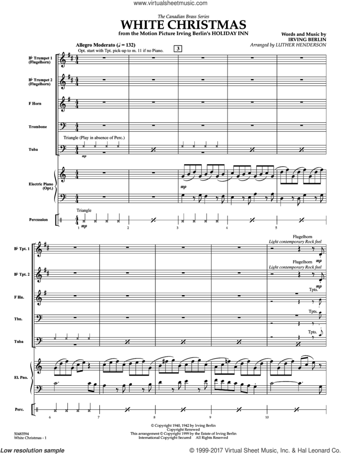 White Christmas (COMPLETE) sheet music for brass ensemble by Irving Berlin and Luther Henderson, intermediate skill level