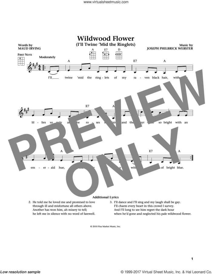 Wildwood Flower (from The Daily Ukulele) (arr. Liz and Jim Beloff) sheet music for ukulele , Jim Beloff and Liz Beloff, intermediate skill level