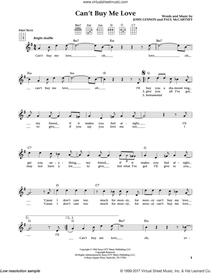 Can't Buy Me Love (from The Daily Ukulele) (arr. Liz and Jim Beloff) sheet music for ukulele by The Beatles, Jim Beloff, Liz Beloff, John Lennon and Paul McCartney, intermediate skill level