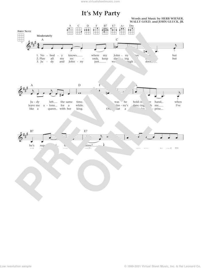 It's My Party (from The Daily Ukulele) (arr. Liz and Jim Beloff) sheet music for ukulele by Lesley Gore, Jim Beloff, Liz Beloff, Herb Wiener, John Gluck Jr. and Wally Gold, intermediate skill level
