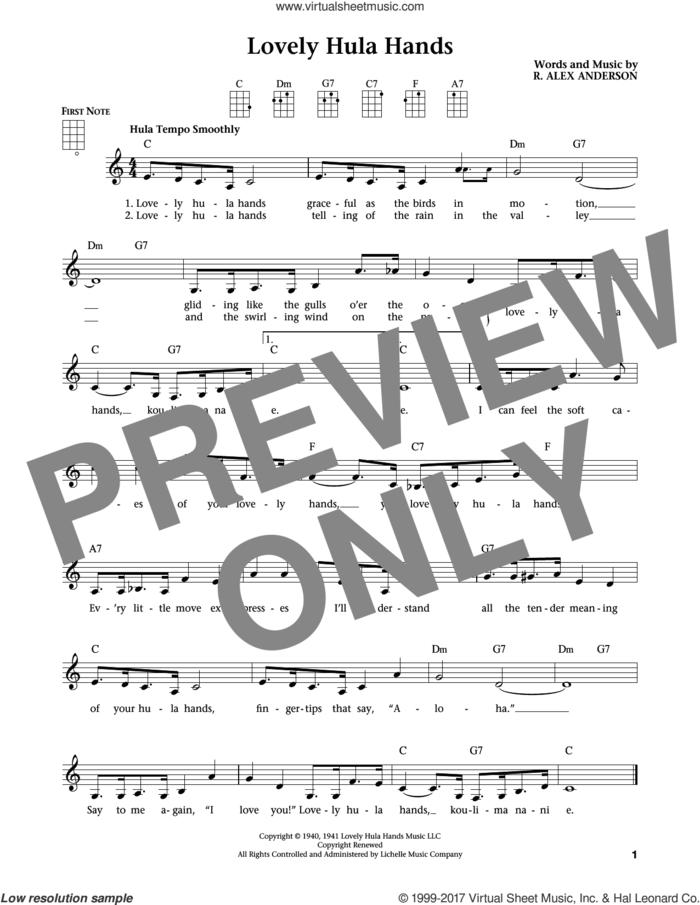 Lovely Hula Hands (from The Daily Ukulele) (arr. Liz and Jim Beloff) sheet music for ukulele by R. Alex Anderson, Jim Beloff and Liz Beloff, intermediate skill level