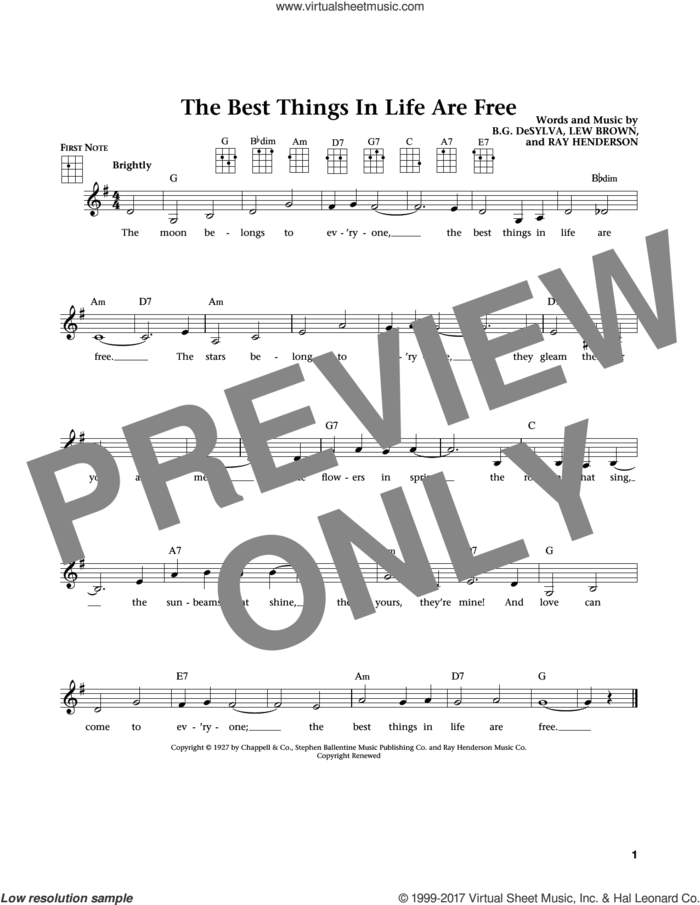 The Best Things In Life Are Free (from The Daily Ukulele) (arr. Liz and Jim Beloff) sheet music for ukulele by Ray Henderson, Jim Beloff, Liz Beloff, Buddy DeSylva and Lew Brown, intermediate skill level