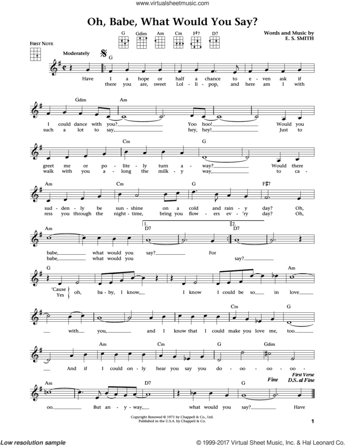Oh, Babe, What Would You Say? (from The Daily Ukulele) (arr. Liz and Jim Beloff) sheet music for ukulele by Hurricane Smith, Jim Beloff, Liz Beloff and E.S. Smith, intermediate skill level