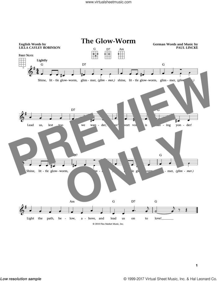 The Glow Worm (from The Daily Ukulele) (arr. Liz and Jim Beloff) sheet music for ukulele by Paul Lincke, Jim Beloff, Liz Beloff and Lilla Cayley Robinson, intermediate skill level