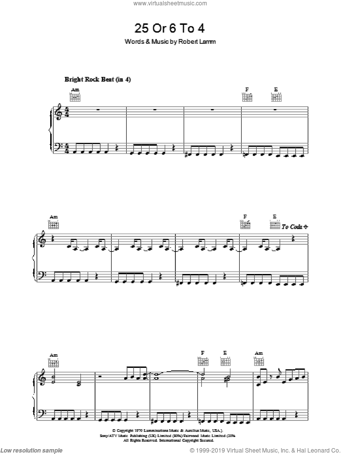 25 Or 6 To 4 sheet music for voice, piano or guitar by Chicago and Robert Lamm, intermediate skill level