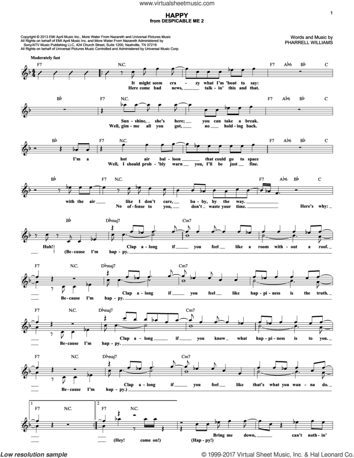 Happy (from Despicable Me 2) sheet music for voice and other instruments (fake book) by Pharrell and Pharrell Williams, intermediate skill level