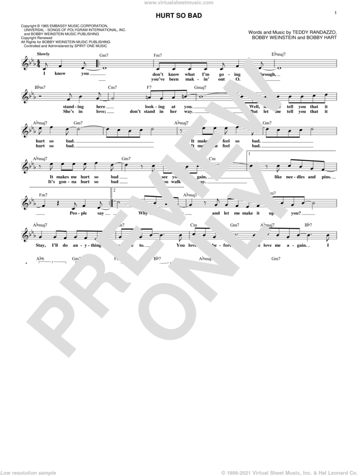 Hurt So Bad sheet music for voice and other instruments (fake book) by Little Anthony & The Imperials, Linda Ronstadt, Bobby Hart, Bobby Wilding and Teddy Randazzo, intermediate skill level
