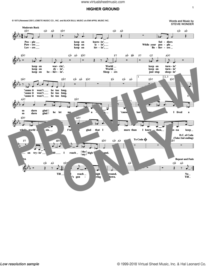 Higher Ground sheet music for voice and other instruments (fake book) by Stevie Wonder, intermediate skill level