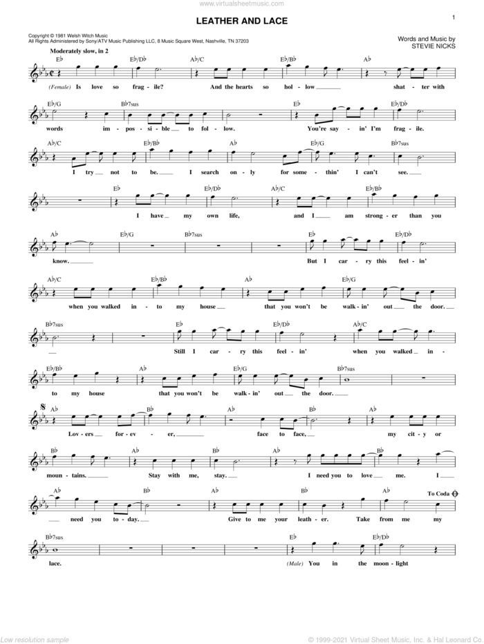 Leather And Lace sheet music for voice and other instruments (fake book) by Stevie Nicks, intermediate skill level