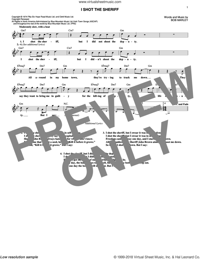 I Shot The Sheriff sheet music for voice and other instruments (fake book) by Bob Marley, Eric Clapton and Warren G, intermediate skill level