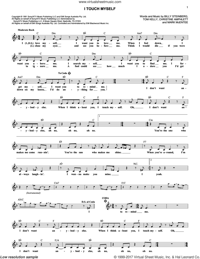 I Touch Myself sheet music for voice and other instruments (fake book) by Billy Steinberg, The Divinyls, Christine Amphlett, Mark McEntee and Tom Kelly, intermediate skill level