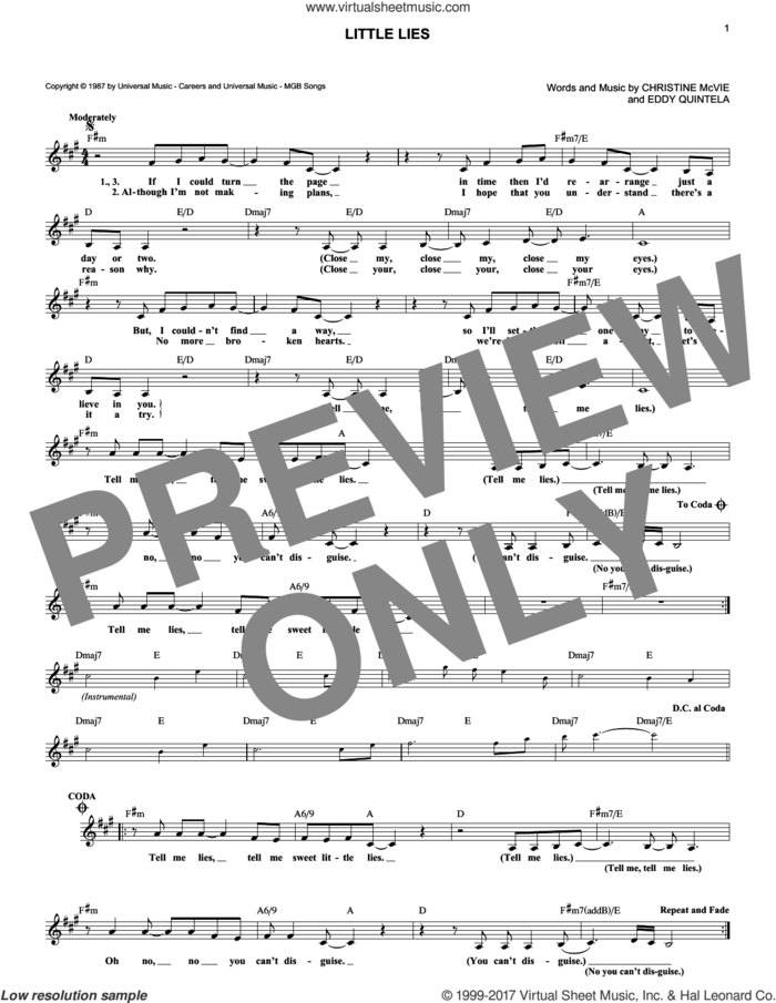 Little Lies sheet music for voice and other instruments (fake book) by Fleetwood Mac, Christine McVie and Eddy Quintela, intermediate skill level