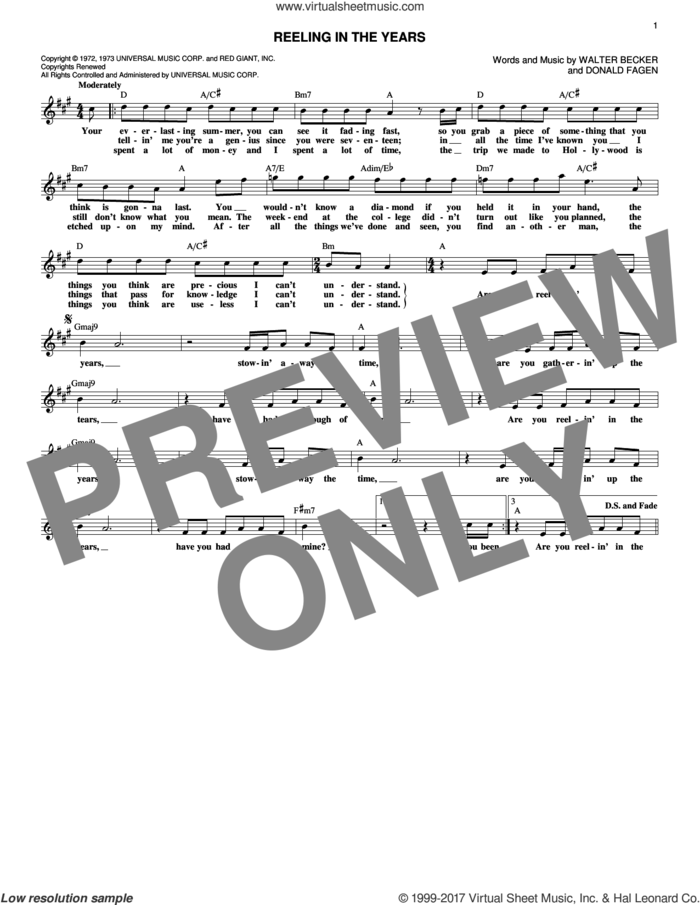 Reeling In The Years sheet music for voice and other instruments (fake book) by Steely Dan, Donald Fagen and Walter Becker, intermediate skill level