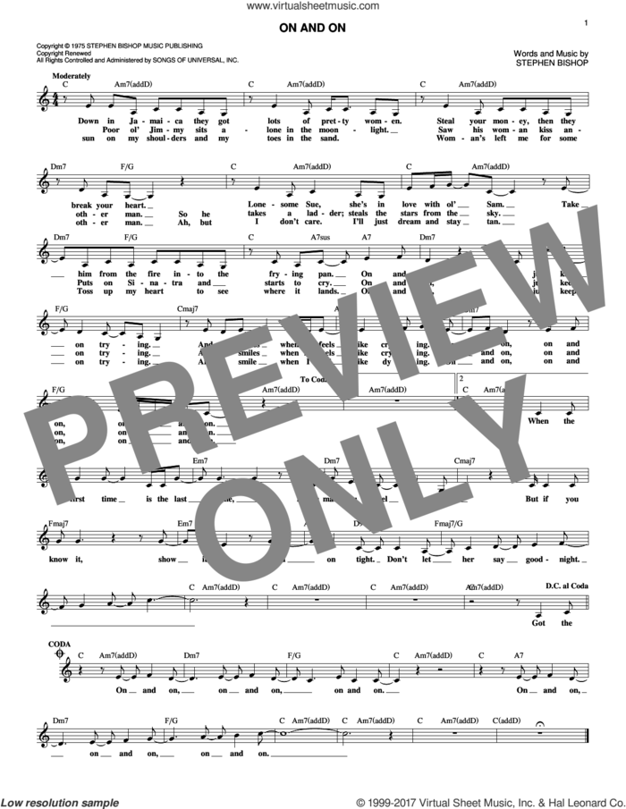 On And On sheet music for voice and other instruments (fake book) by Stephen Bishop, intermediate skill level