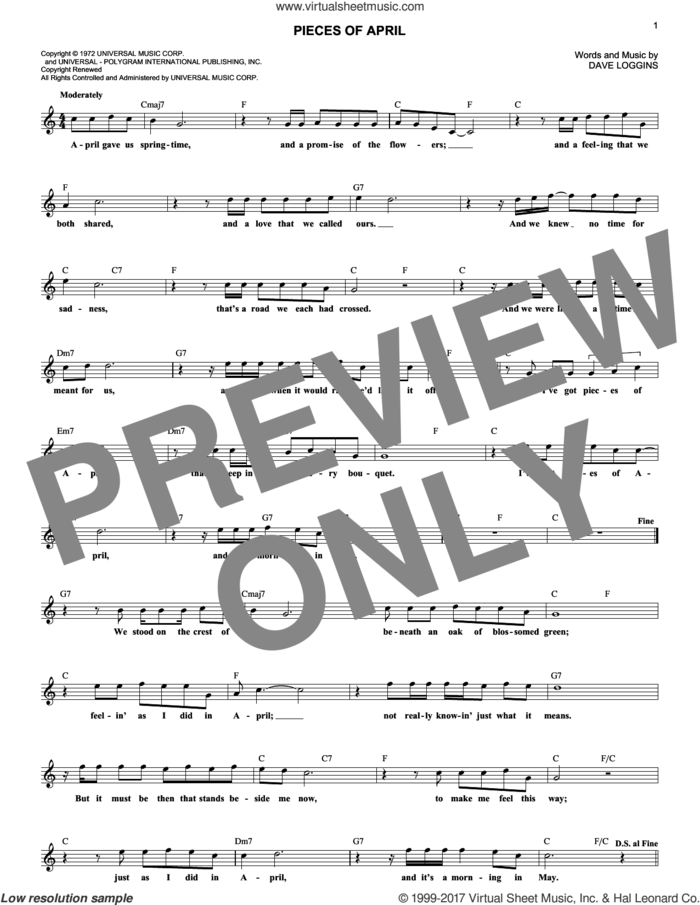 Pieces Of April sheet music for voice and other instruments (fake book) by Three Dog Night and Dave Loggins, intermediate skill level