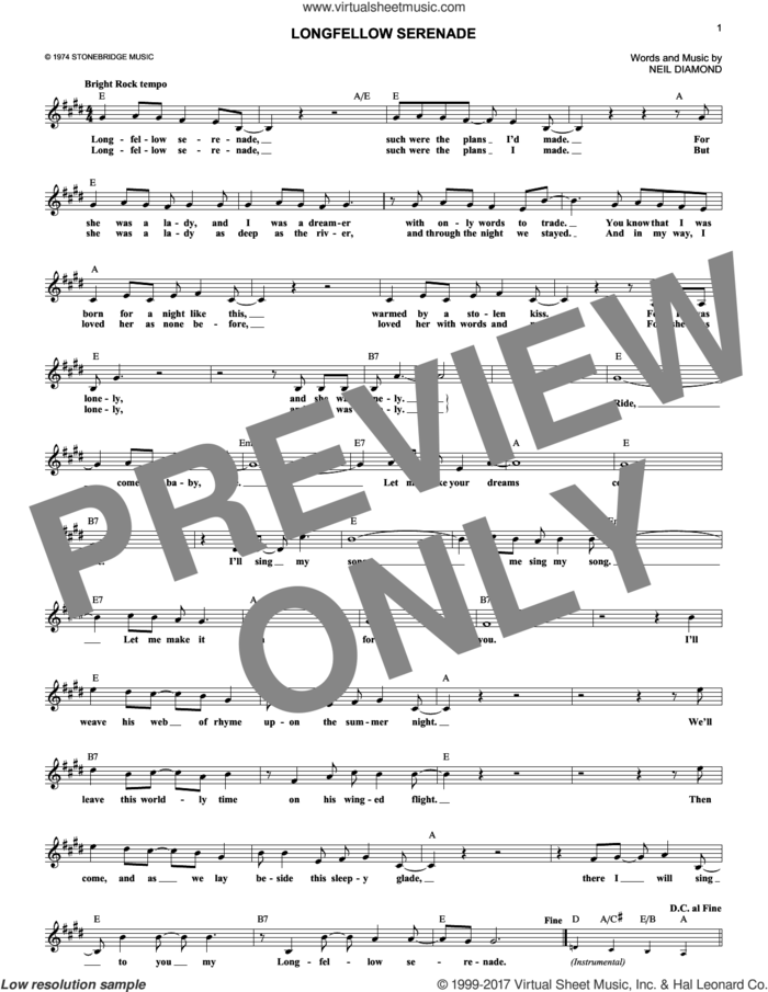 Longfellow Serenade sheet music for voice and other instruments (fake book) by Neil Diamond, intermediate skill level