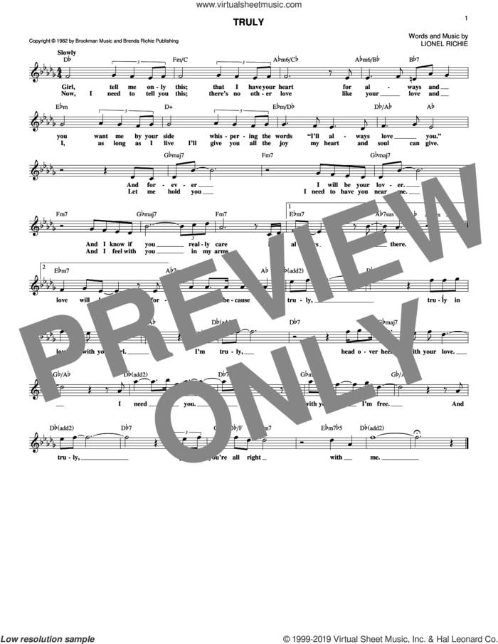 Truly sheet music for voice and other instruments (fake book) by Lionel Richie, intermediate skill level