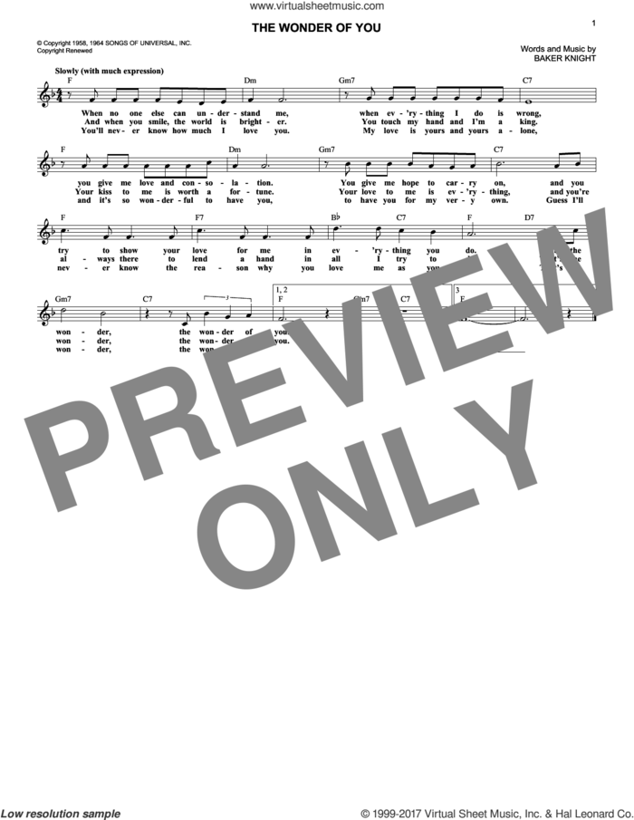 The Wonder Of You sheet music for voice and other instruments (fake book) by Elvis Presley and Baker Knight, intermediate skill level