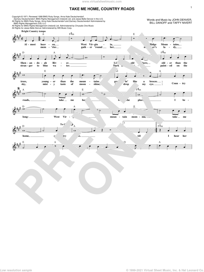 Take Me Home, Country Roads sheet music for voice and other instruments (fake book) by John Denver, Bill Danoff and Taffy Nivert, intermediate skill level