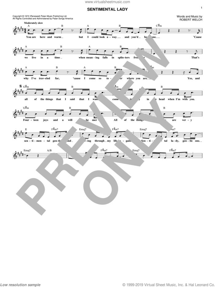 Sentimental Lady sheet music for voice and other instruments (fake book) by Bob Welch, intermediate skill level