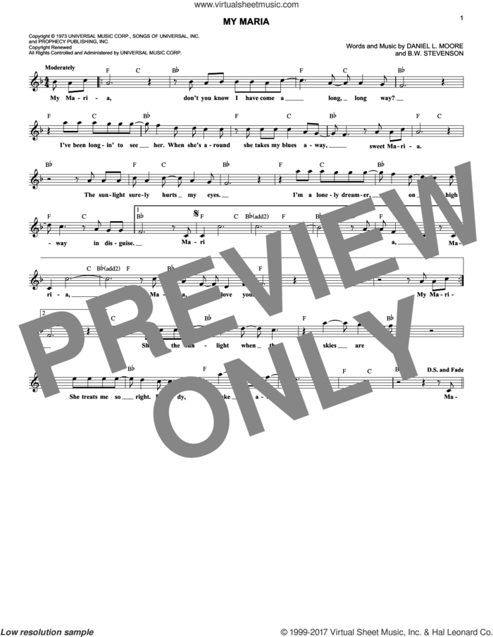 My Maria sheet music for voice and other instruments (fake book) by Brooks & Dunn, B.W. Stevenson and Daniel Moore, intermediate skill level